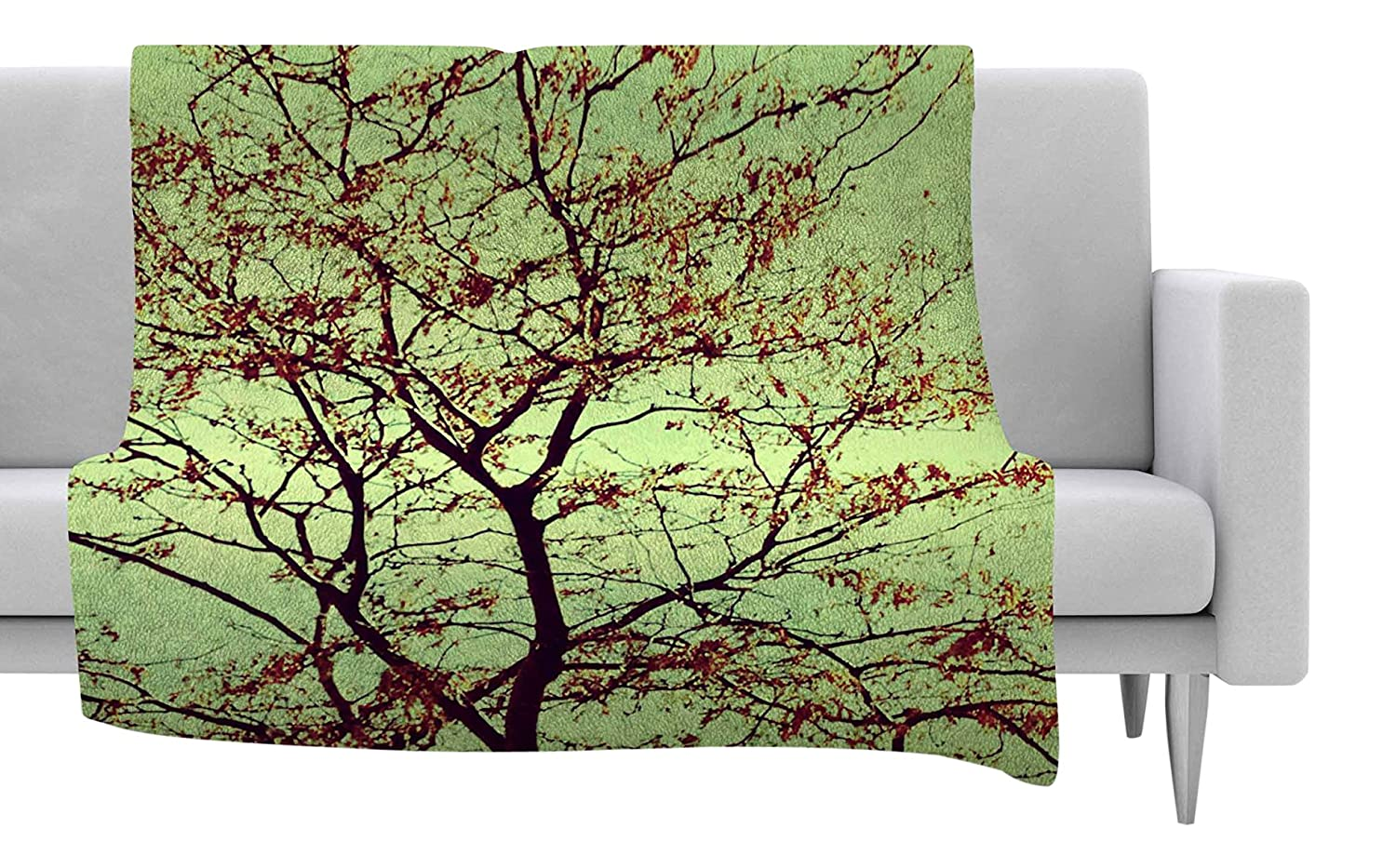 40 by 30-Inch Kess InHouse Sylvia Coomes Modern Fall Tree Green Brown Fleece Throw Blanket 40 X 30