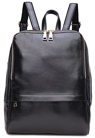 768dd6ee6b5 Amazon.com   Coolcy Hot Style Women Real Genuine Leather Backpack Fashion  Bag (Black)   Casual Daypacks