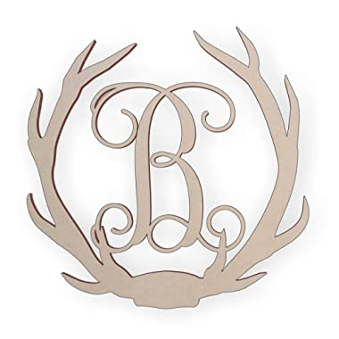 Jess and Jessica Wooden Deer Antler Monogram Letter B for Wall Decor or Door Hanger, Great for Gifts
