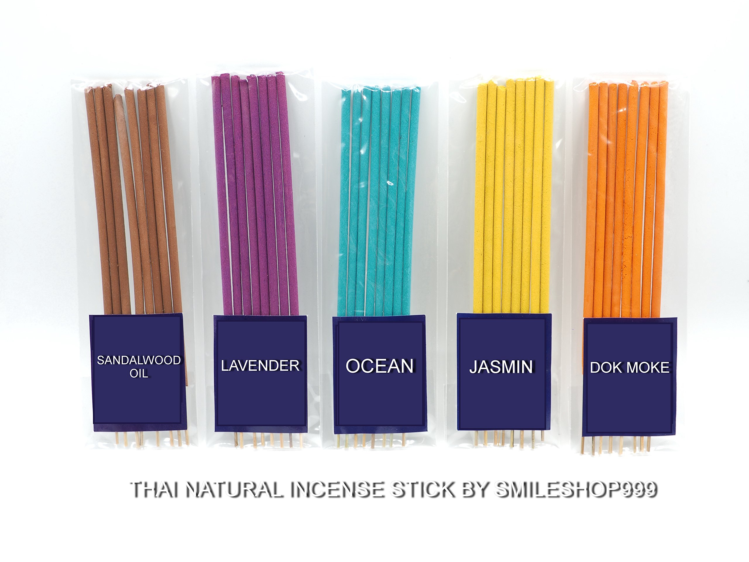 Thai Incense Sticks with 10 Diverse Aromatic Smell 100% Natural with Jasmin DokMoke Sandalwood Lavender Ocean Rose Orchid Butterfly Pea Fangipani Coconut Fee shipping by smileshop999