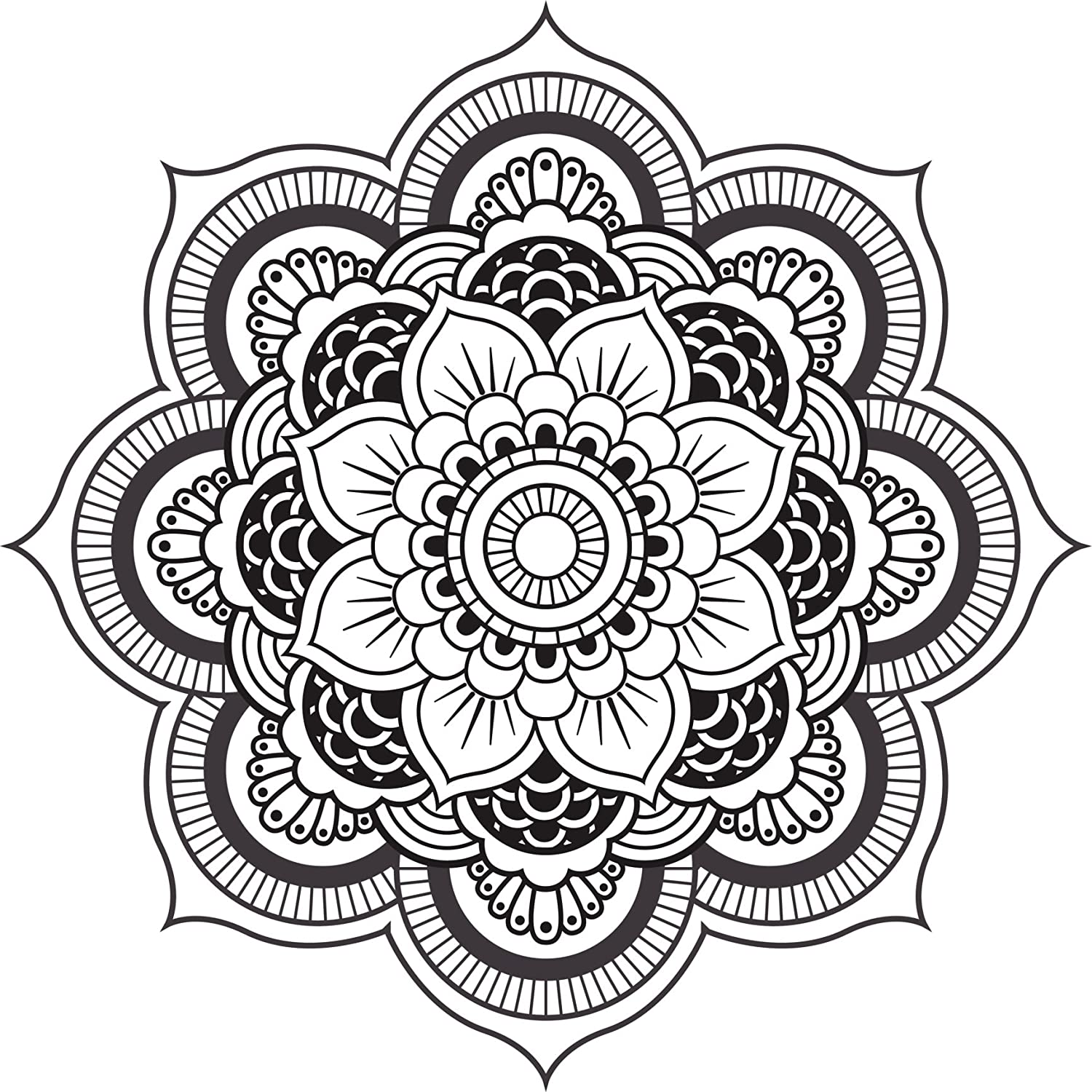 Amazon com detailed mandala design black white vinyl decal sticker two in one pack 8 inches wide home kitchen