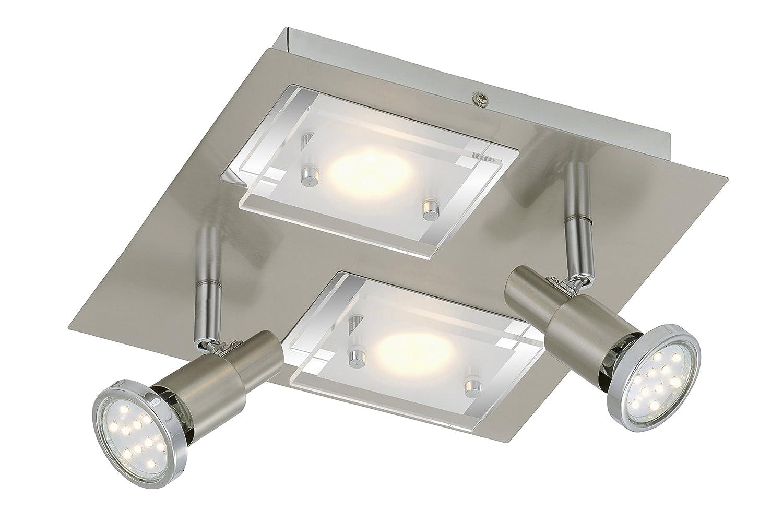 Briloner Leuchten LED Deckenlampe, 2xLED 5 W, 2xLED GU10 3 W, matt nickel 2879-042