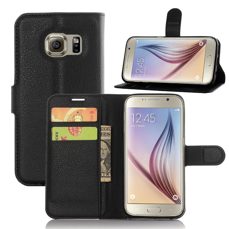 ECENCE Funda para el Samsung Galaxy S7 G930 Libro Cover Wallet Case-s Bolsa Negro 12010104
