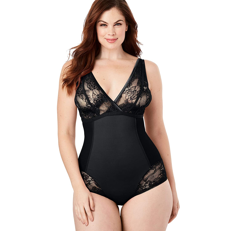Amoureuse Womens Plus Size Lace Shaping Bodysuit