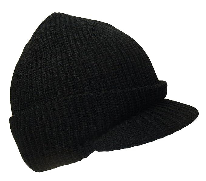 THS Knit Jeep Watch Cap Visor Beanie Ski Cap (One Size 908e56825bb