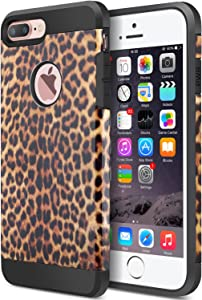 iPhone 8 Plus Case, iPhone 7 Plus Case, Dual Layer Camouflage Leopard Shockproof Protective Case TPU Bumper Hard PC Back Case Cover Skin for Apple iPhone 7 Plus & iPhone 8 Plus (Leopard)