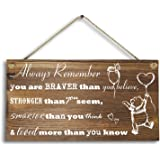 "Agantree Art 6""x 12"" Winnie The Pooh Wood Plank Design Hanging Sign Plaque, Inspirational Gift for Kids or Fiendss."