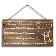 Agantree Art 6 x 12  Winnie The Pooh Wood Plank Design Hanging Sign Plaque, Inspirational Gift for Kids or Fiendss.