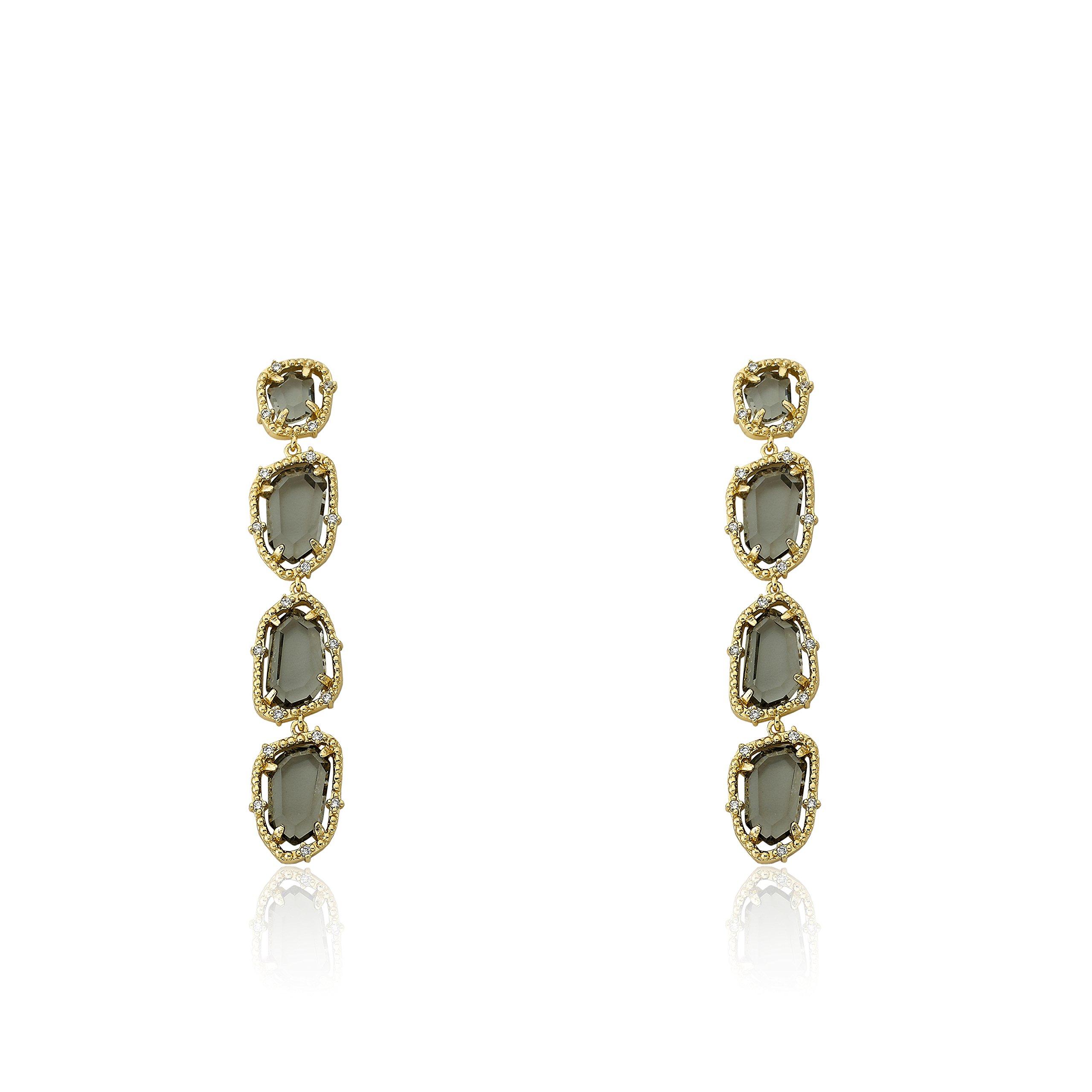 Riccova Sliced Glass 14k Gold-Plated CZ Around Black Sliced Glass Long Dangle Earring/ by Riccova