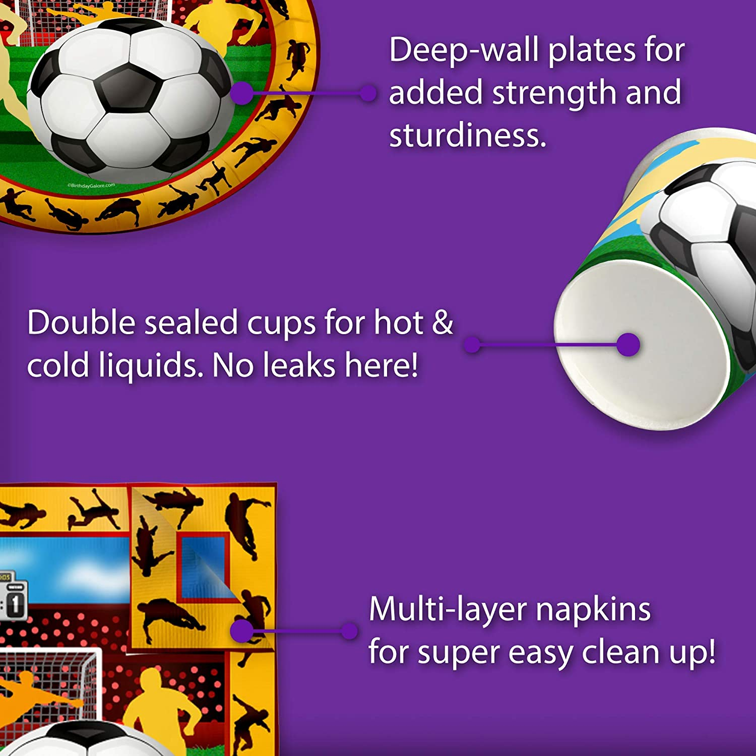 Soccer Sports Birthday Party Supplies Set Plates Napkins Cups Tableware Kit for 16
