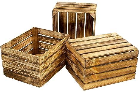 Teramico geflammte//braune Apfelkisten 50cm x 40cm x 30cm Set Angebote Holzkisten Weinkisten Obstkiste Kiste Box Holzkiste NEU, 1