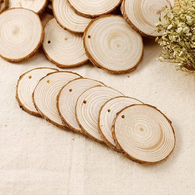 25 Rund Holzscheiben Baumscheiben Anhängeetiketten Hochzeit