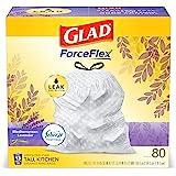 Glad ForceFlex Tall Kitchen Drawstring Trash Bags 13 Gallon White Trash Bag, Mediterranean Lavender scent with Febreze Freshn