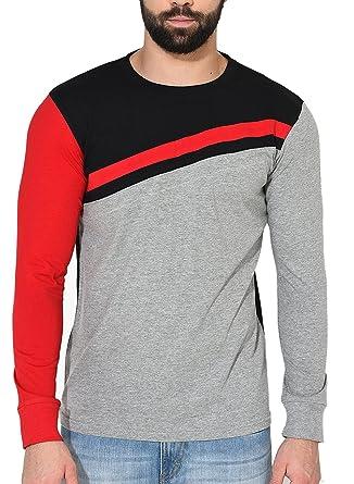 689acd9d80a GRITSTONES Men s Plain Slim Fit T-Shirt (GSFSTSHT1598GMBLKRD L Multi Large)