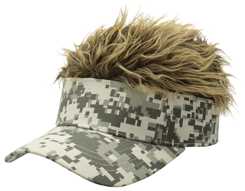 6e115890dc3 Flair Hair Novelty Adjustable Visor with Spiked Hair Joke/Gag Visor/Hat/Cap