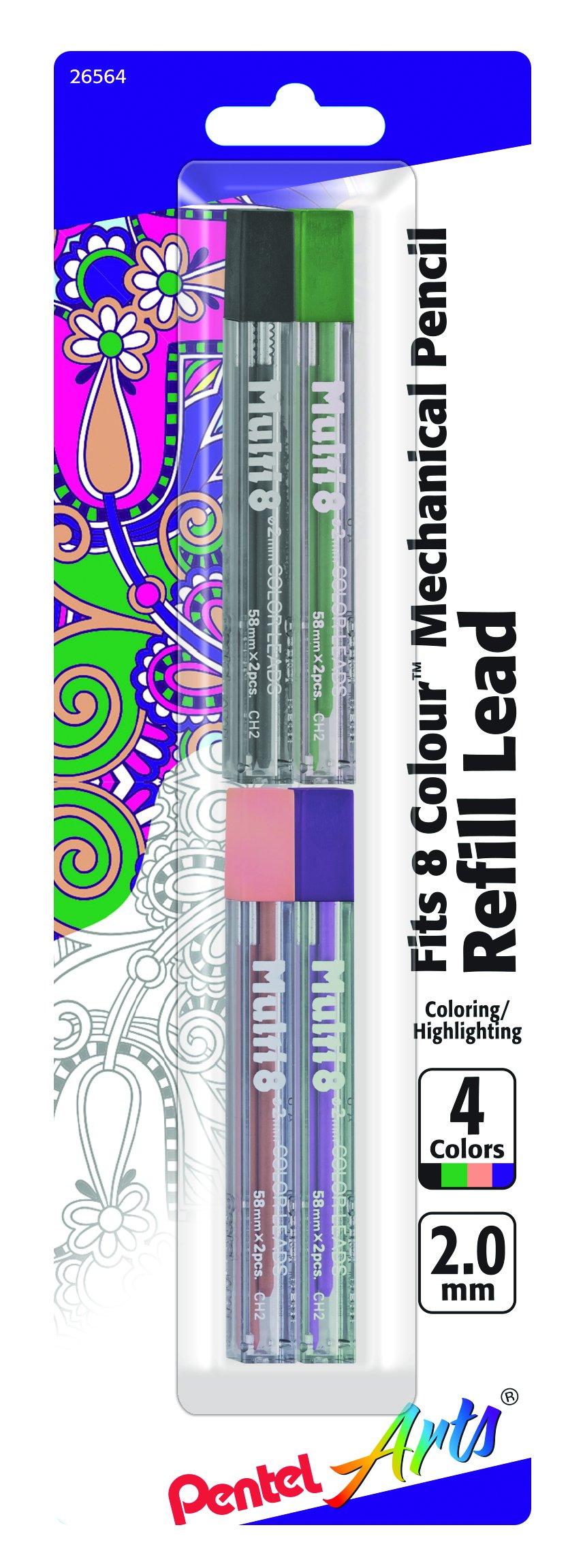 Pentel 8 Minas (4 Tubos) 2mm  Multicolor