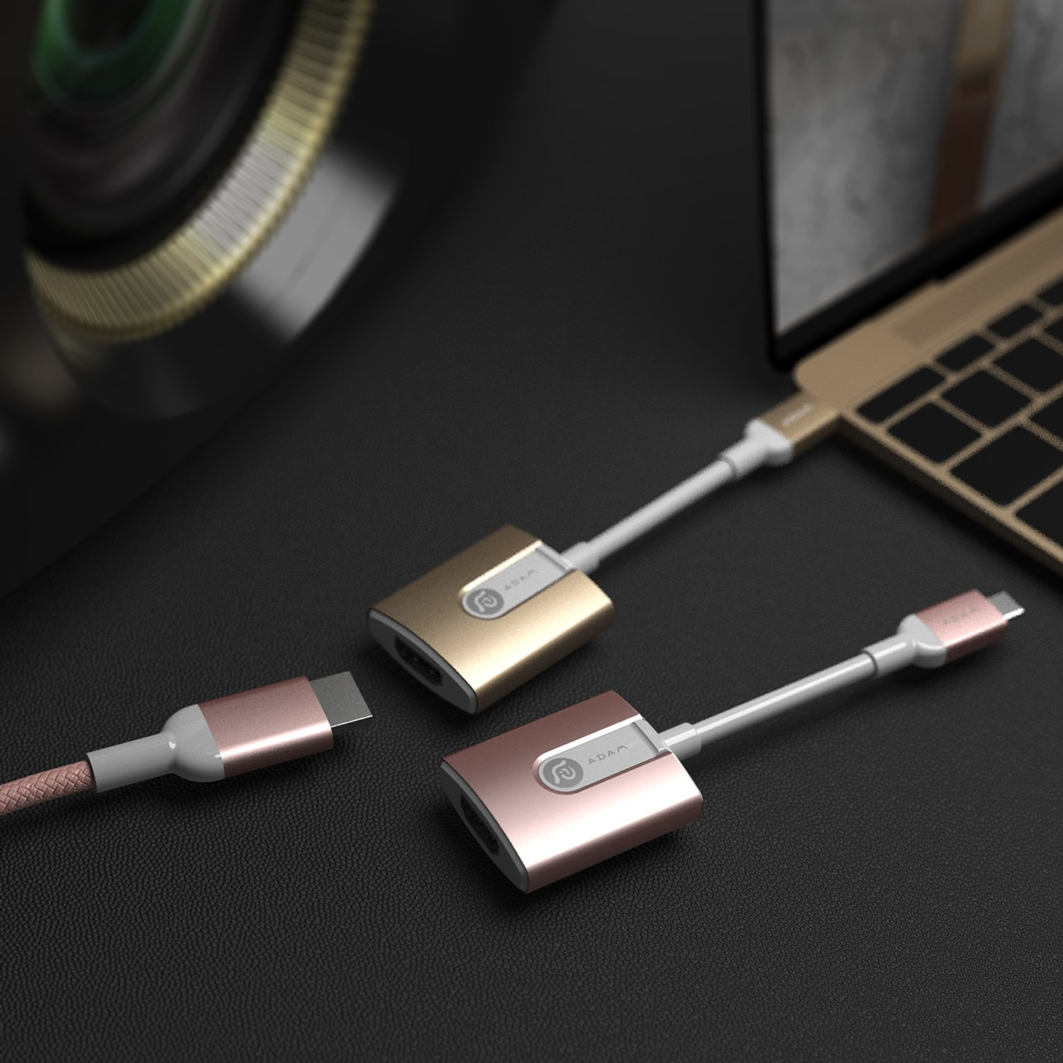 A ADAM ELEMENTS Adam Elements USB Type C to HDMI Adapter Connector Cable In Designer Colors, Connect Macbook or Notebook to TV or Monitor, Supports 1080P & Ultra HD 4K - Gold by A ADAM ELEMENTS (Image #1)