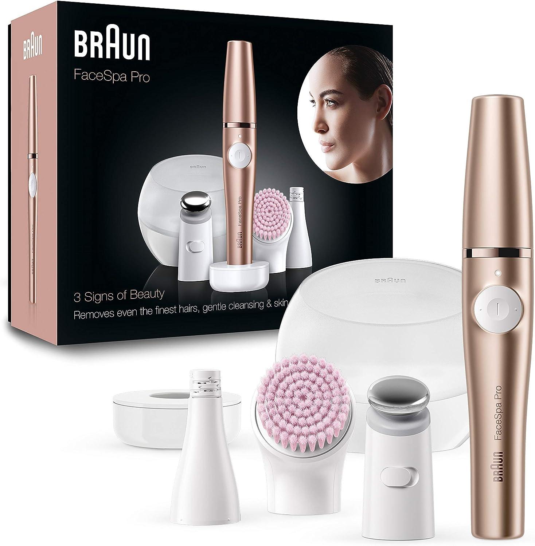 Braun FaceSpa Pro 921 - Depiladora Facial TodoenUno para Mujer, Incluido un Cepillo de Limpieza Suave y Depiladora Facial Bronce