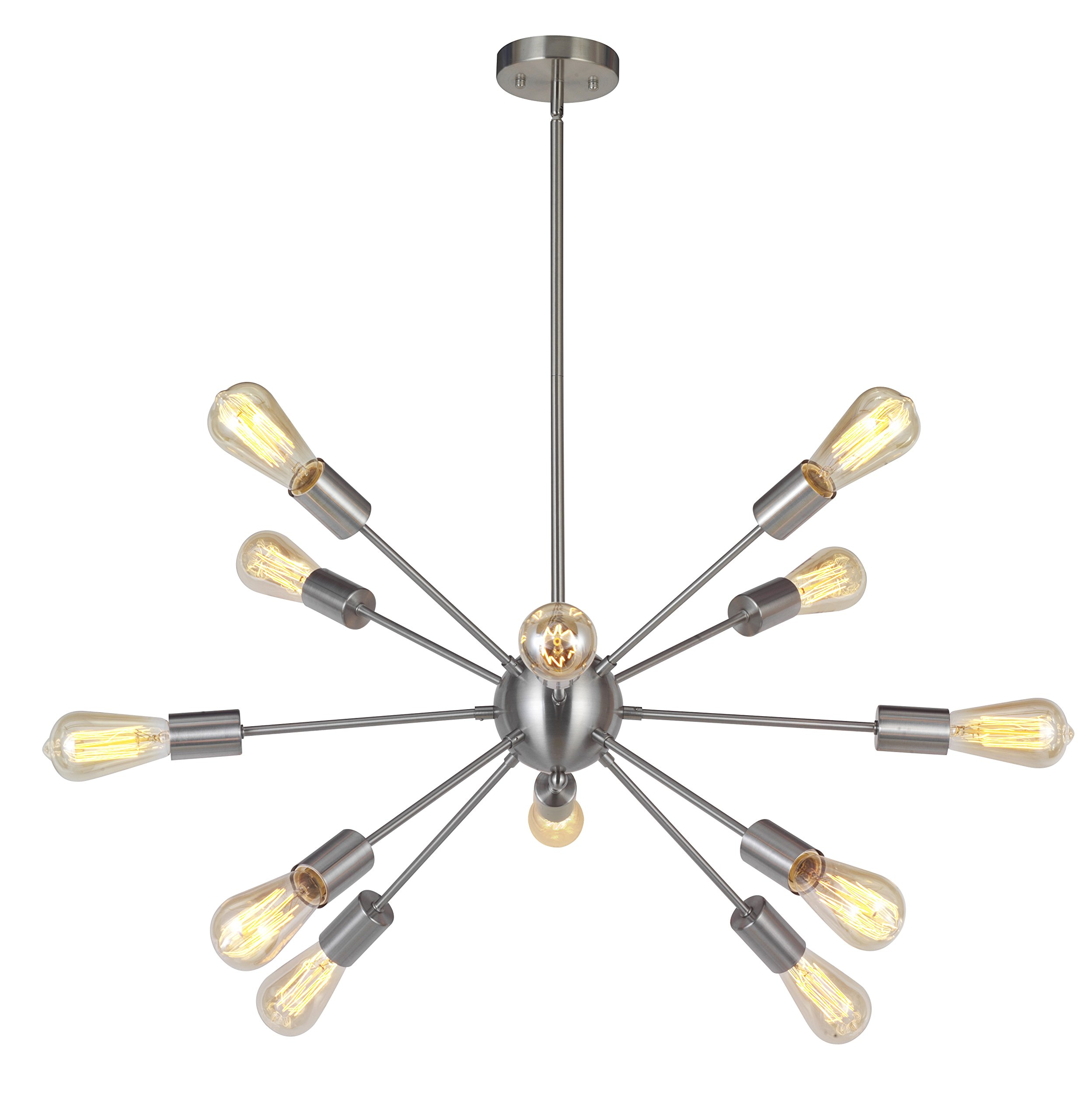 """Sputnik Chandelier 12 Lights Modern Pendant Lighting Brushed Nickel Industrial Vintage Ceiling Light UL Listed by VINLUZ - Easy Install - All the arms are pre-wired and pre-threaded for easy installation, Gently thread remaining wire and arms into the central ball and screwed , Thread the main wire through the extension rods, then install the fixture into a ceiling box. Chandelier Features - Swivel canopy could be mounted on vaulted or sloped ceilings and fully dimmable when used with a dimmable bulb and compatible dimmer switch. Height Adjustable Stem - With height adjustable stem, includes four 10"""" hard stems to allow a variety of hanging heights. Dimentions:Chandelier: 37"""" (H) x 36.61"""" (D), Canopy: 4.72"""" (D). - kitchen-dining-room-decor, kitchen-dining-room, chandeliers-lighting - 81KACIulKlL -"""