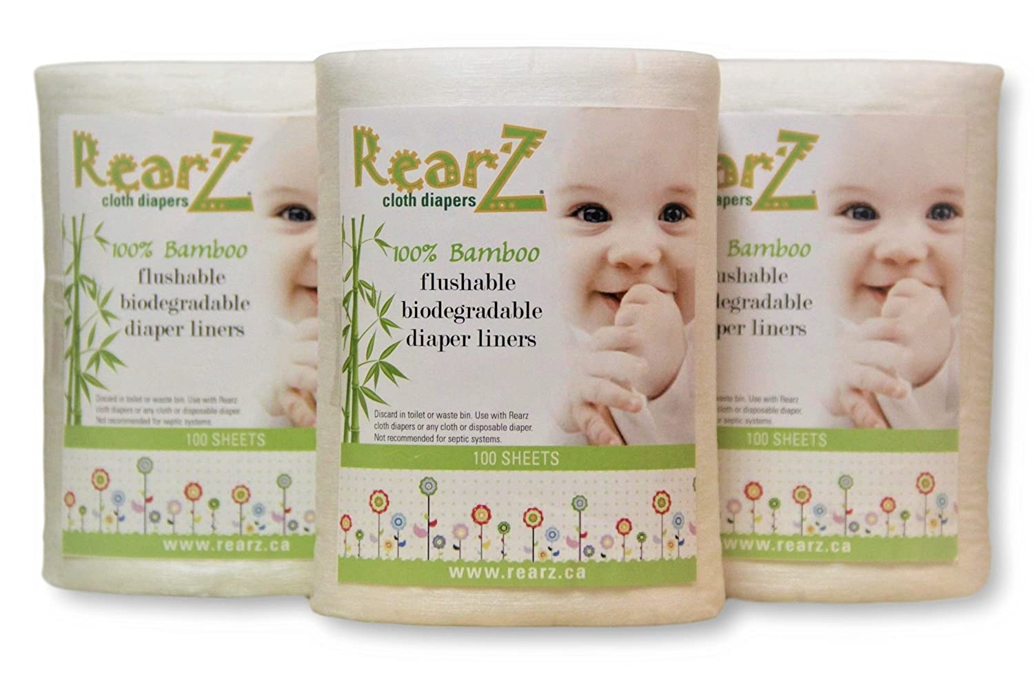 Rearz - All Natural, 100% Bamboo Diaper Liners - 100 Sheets (2 Pack)