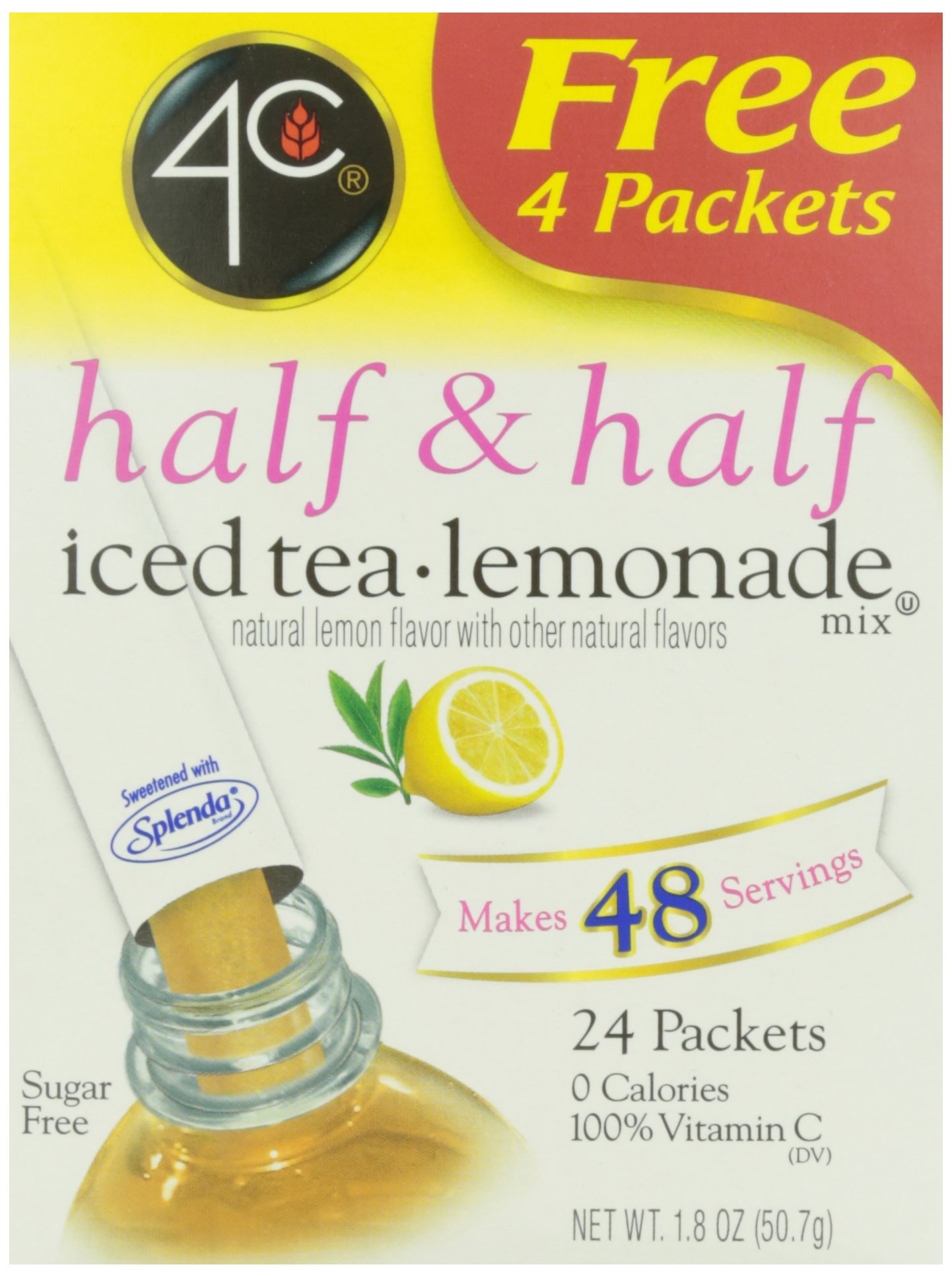 4C Half & Half Iced Tea Lemonade Mix- Sugar Free 24 pkts