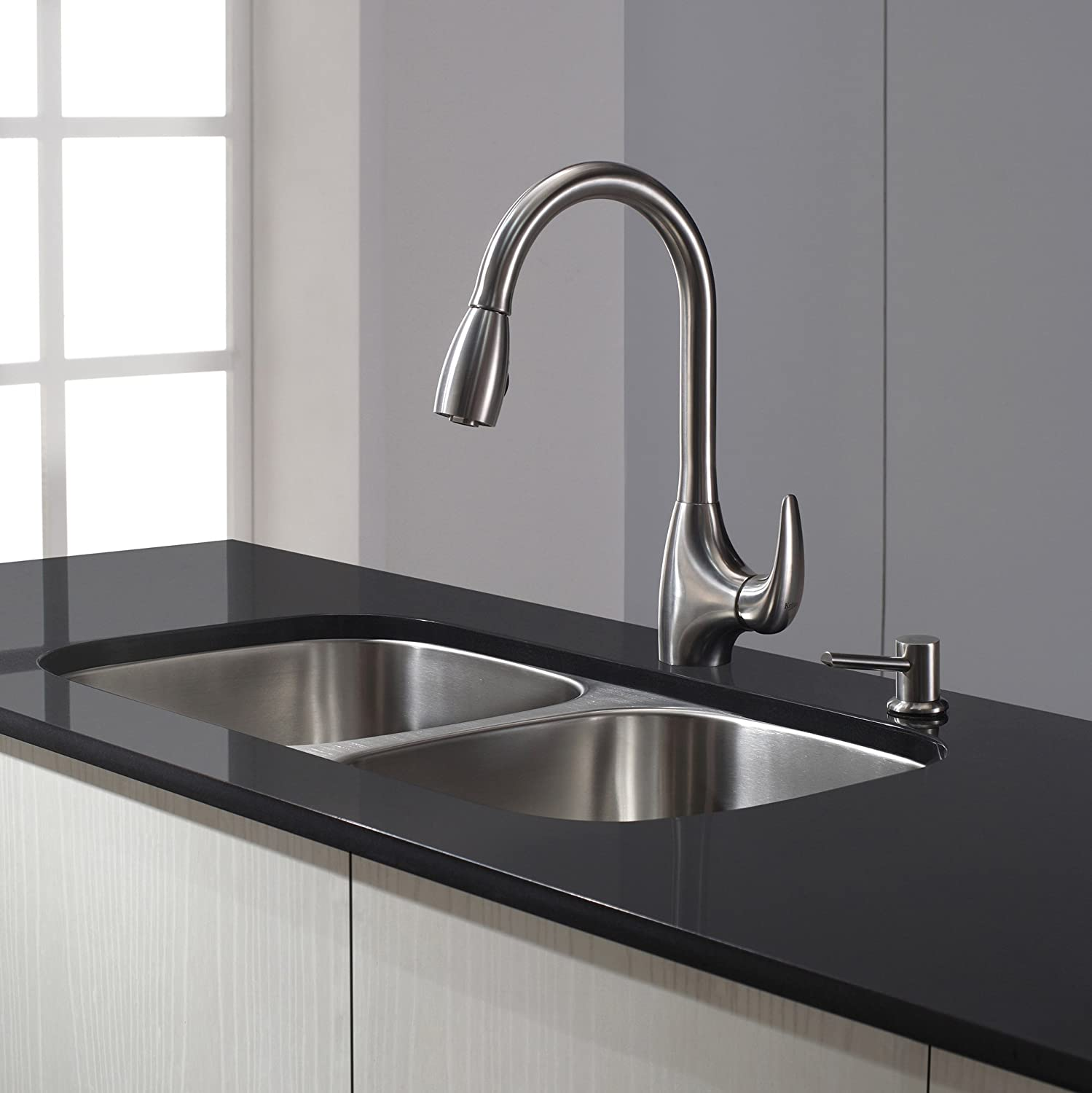 Kraus KPF-2170 Single Lever Stainless Steel Pull Out Kitchen Faucet ...