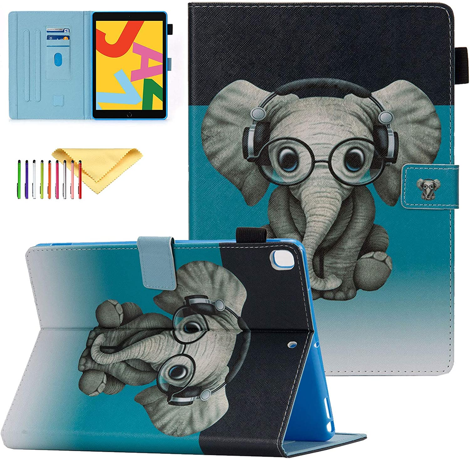 """Case for New iPad 10.2 2020/2019 - iPad 8th/7th Generation Case, Cookk Shock Proof Protective Stand Cover with Auto Sleep/Wake Feature Case Kids for iPad 10.2"""" 2020/2019 Latest Model, Music Elephant"""