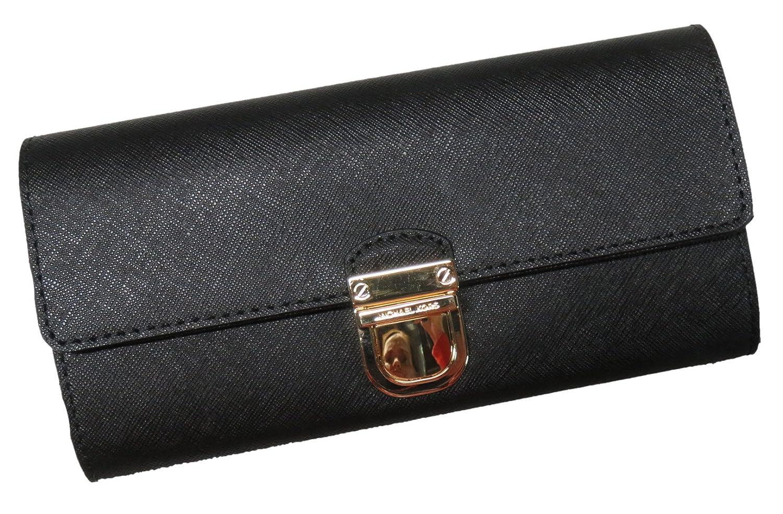 ecd9590ab85b Amazon.com: Michael Kors Bridgette Saffiano Flap Leather Wallet Black