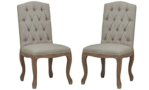 Stone Beam Leonardo Dining Room Kitchen Chair 41.5 Inch Height, Set of 2, Dove Grey