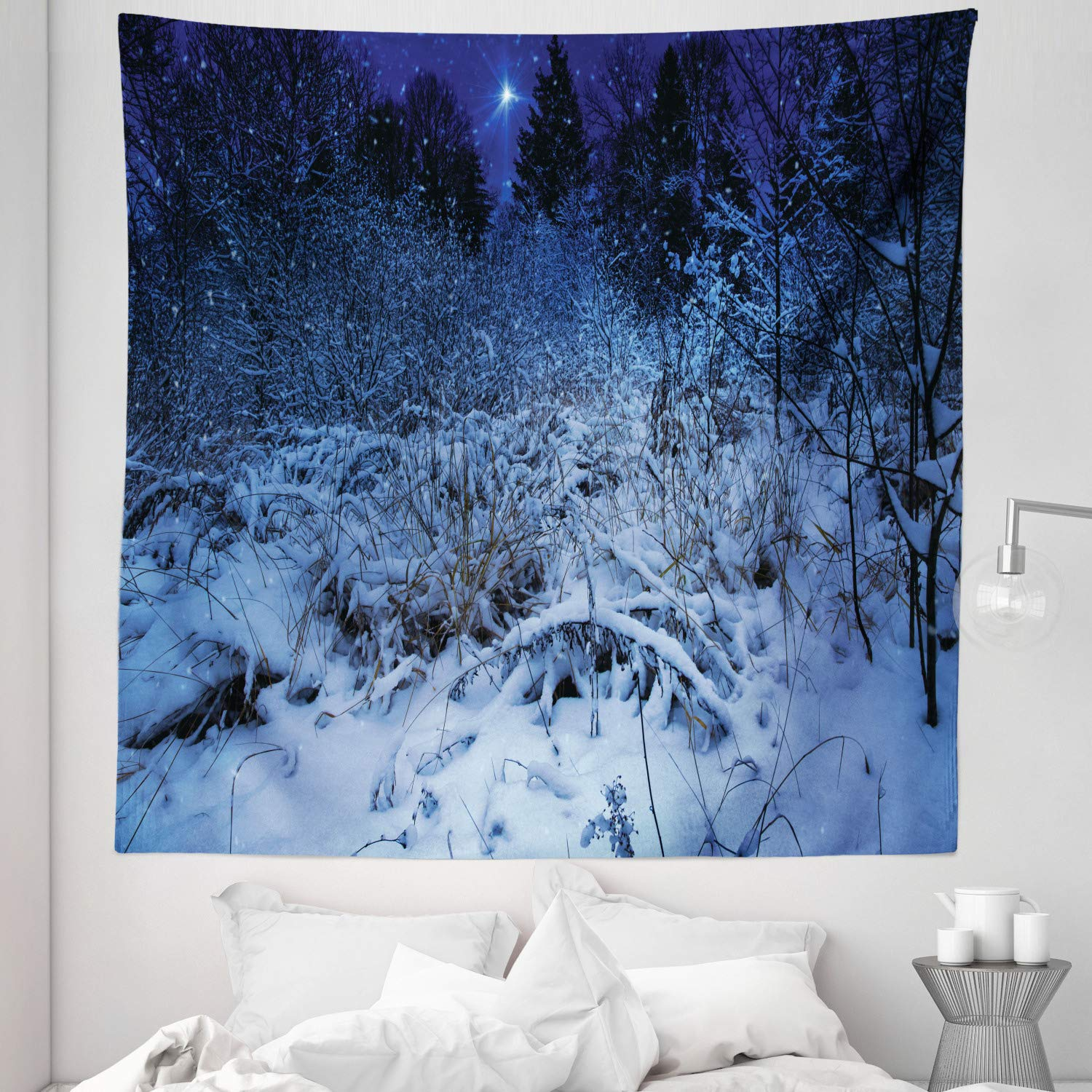 """Lunarable Christmas Tapestry Queen Size, Snowy Forest at Night with Xmas Star Holiday Blizzard Winter Sky Universe, Wall Hanging Bedspread Bed Cover Wall Decor, 88"""" X 88"""", Navy Blue"""