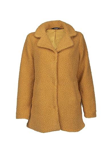 e2e8aa5c453 Womens Mustard Yellow Plush Faux Fur Shaggy Coat Jacket - Size Medium