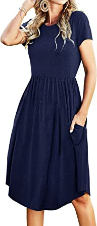 Simier Fariry Women's Summer Casual Swing Midi Dress with Pockets