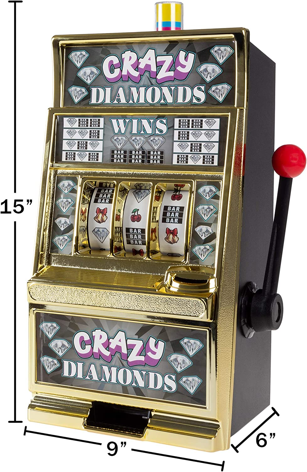 Crazy Diamonds Trademark Gameroom Slot Machine Coin Bank Electronic Realistic Mini Table Top Novelty Casino Toy with Lever for Kids /& Adults