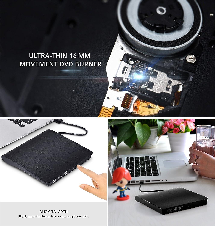 External CD Drive,Xinton Tech USB3.0 External Drive, High Speed Optical CD DVD RW DVD ROM Drive Writer Burner for Laptop Notebook PC Desktop Computer Support Windows/ Vista/7/8.1/10, Mac OSX (Black)
