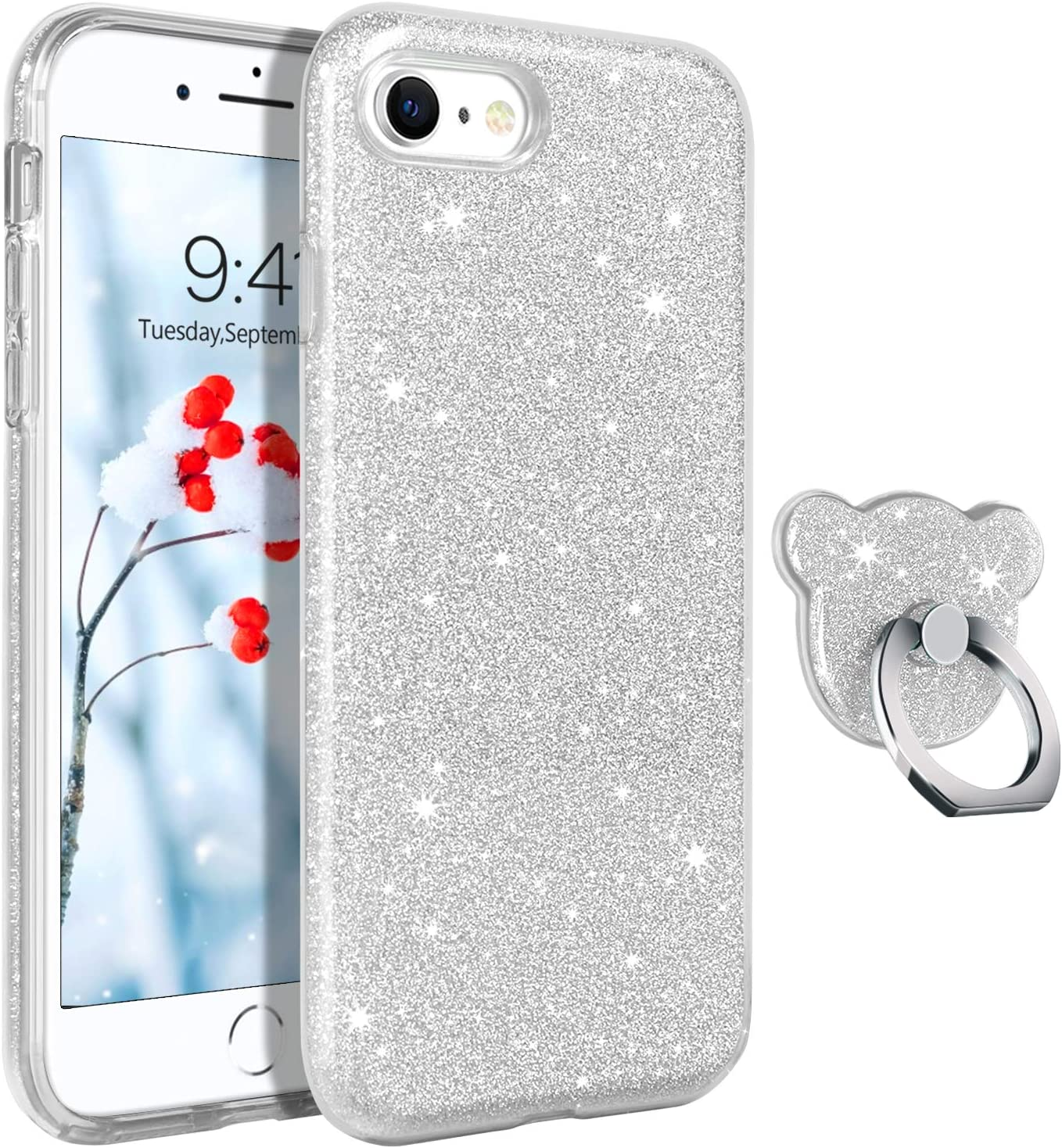 GUAGUA Compatible for iPhone SE 2020/8/7 Case Glitter Sparkle Bling Shiny Cute Cover for Girls Women with Extra Ring Holder Kickstand Slim Protective Phone Cases for iPhone SE 2020/8/7 4.7-inch Silver