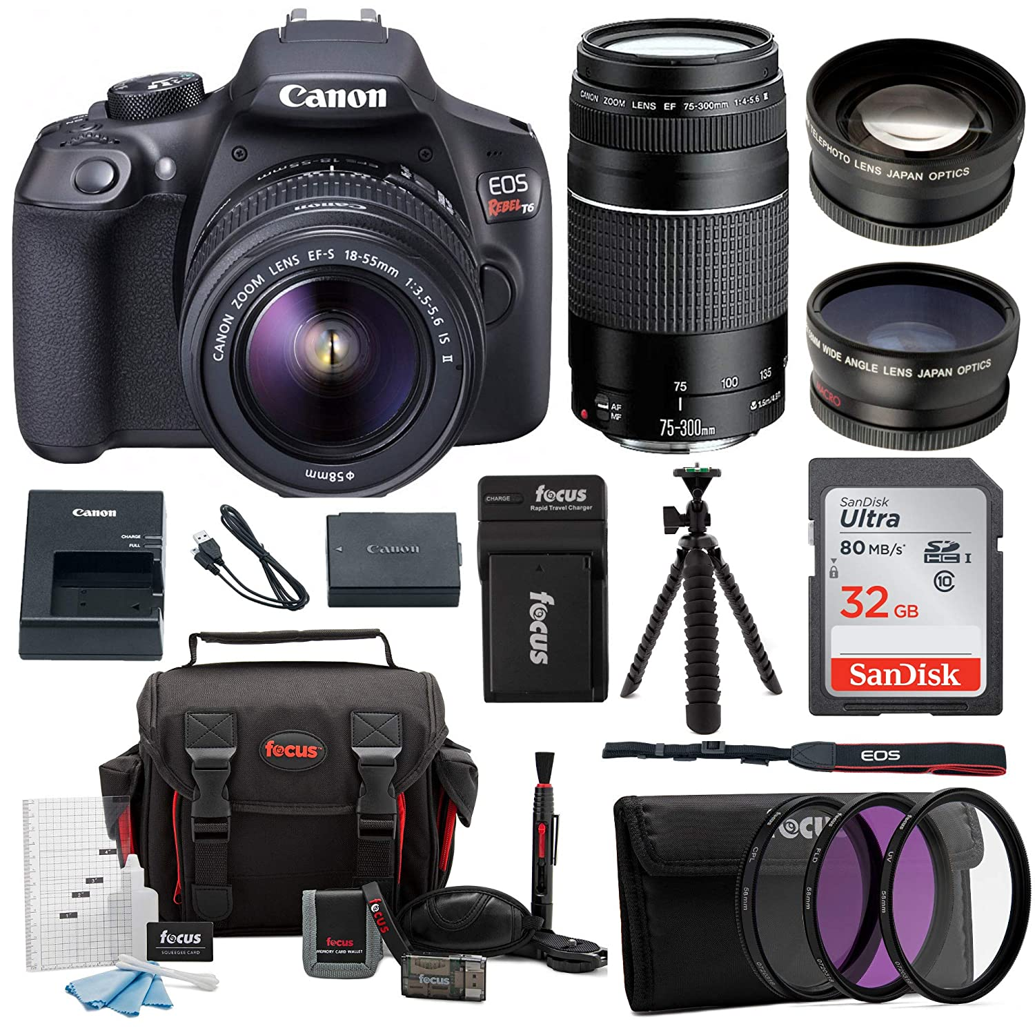 Canon EOS Rebel T6 Digital Camera: 18 Megapixel 1080p HD Video DSLR Bundle  with 18-55mm & 75-300mm Lens 32GB SD Card Tripod Filter Kit Bag & Charger -