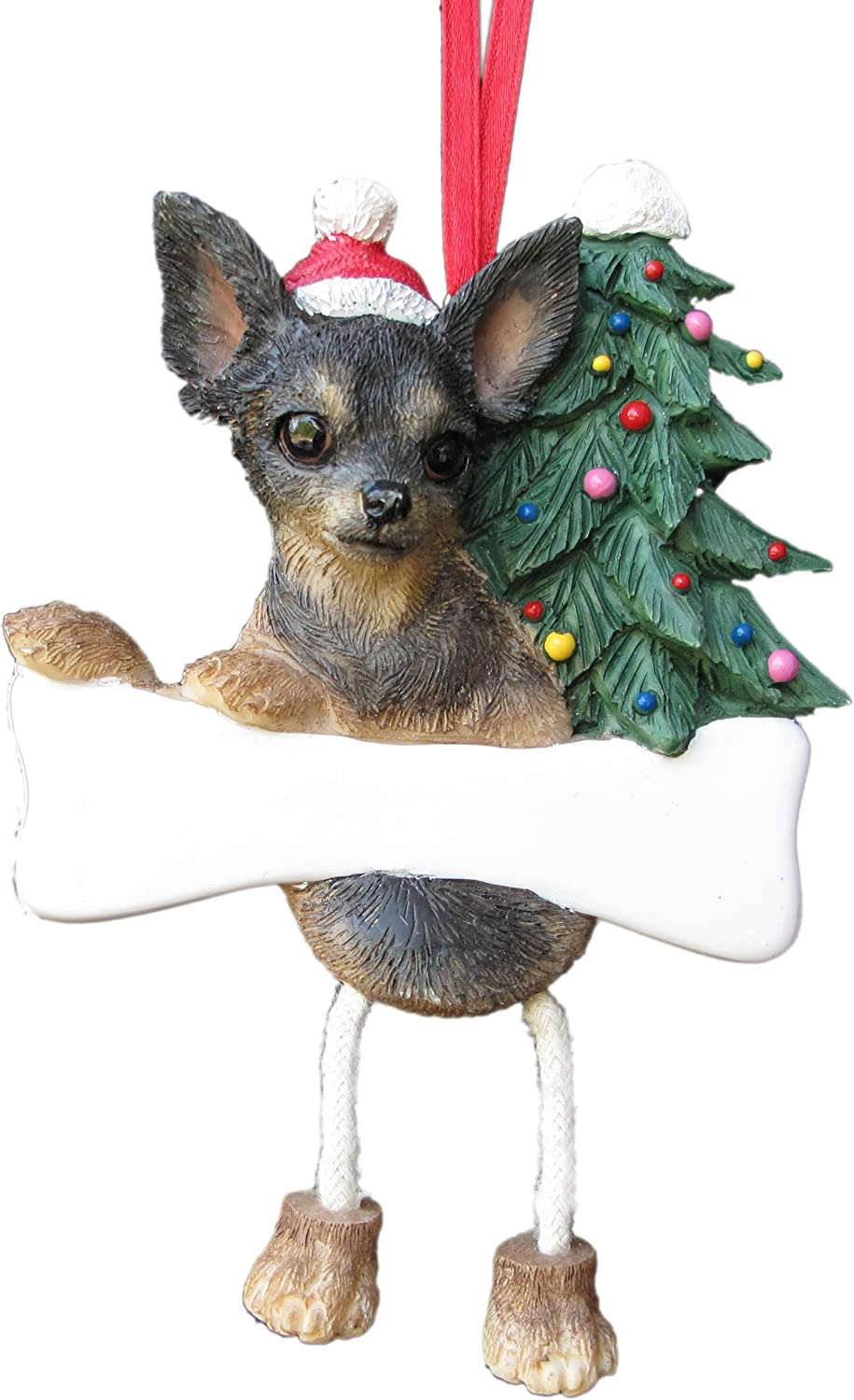 Chihuahua Black Dog Christmas Ball Ornaments Tree Decoration Shatter Proof RED
