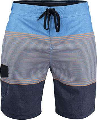 Matereek Mens Solid Color Cargo Trunks Style Microfiber Swim Trunks