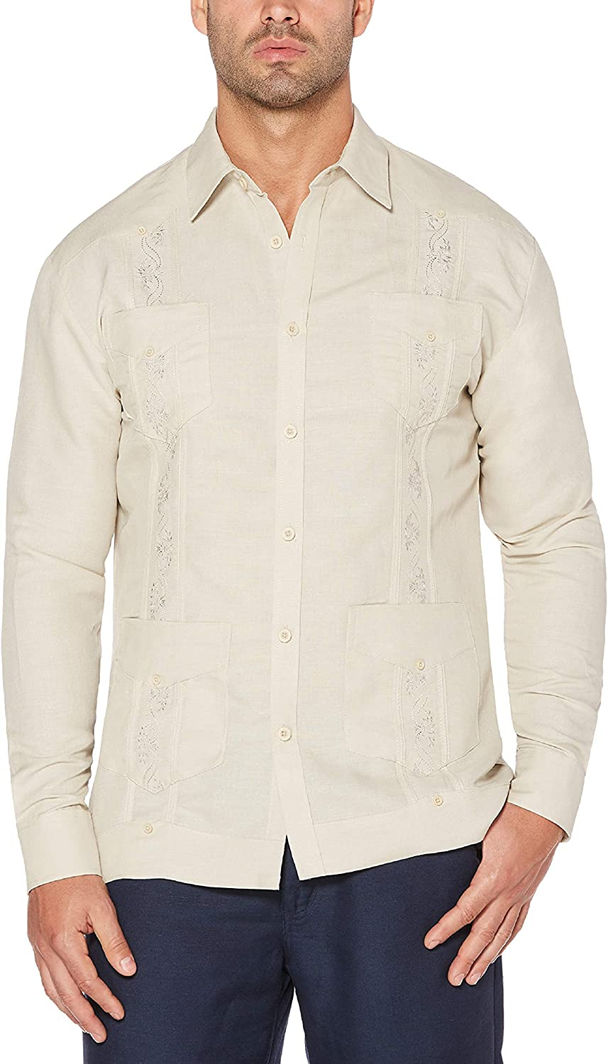 Cubavera Men's Long Sleeve Embroidered Guayabera Shirt