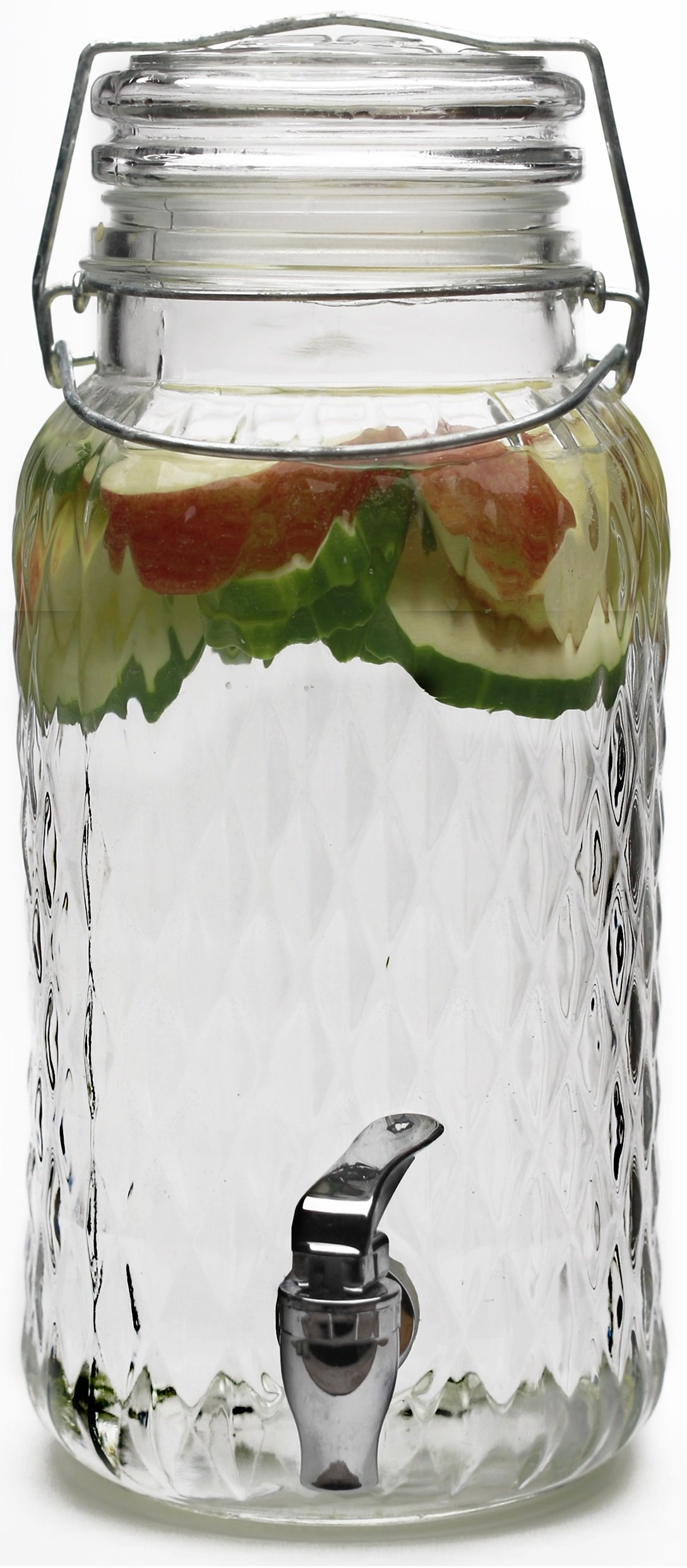 Circleware 69117 Glass Beverage Drink Dispenser Jar with Hermetic Locking Lid Clear, for Water, Juice, Kombucha, Beer and Iced Tea, 1 gallon