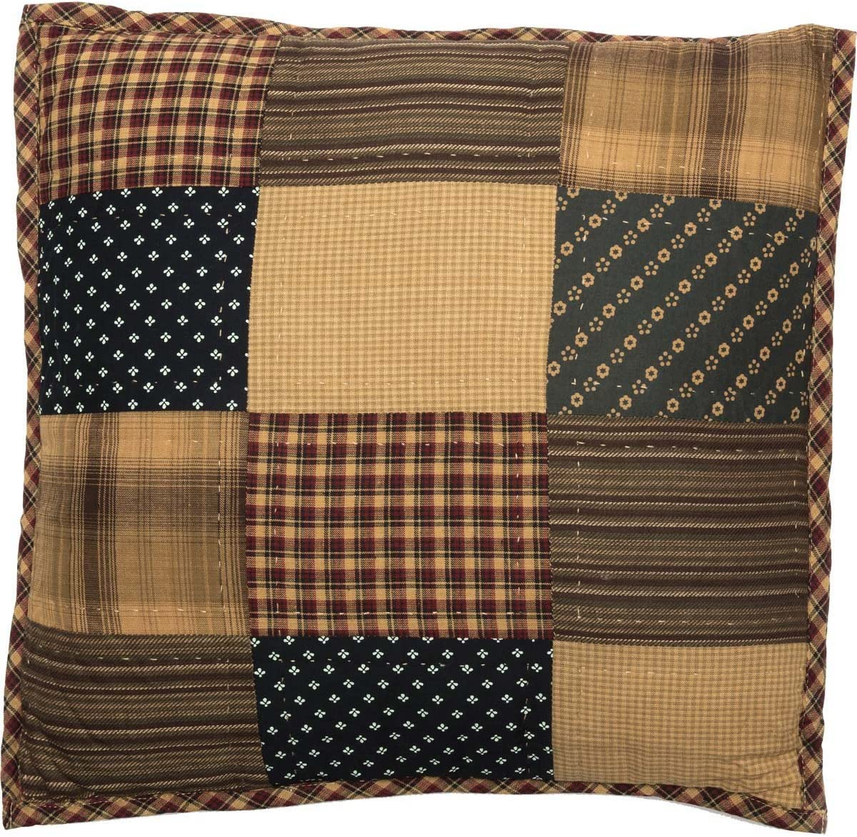 VHC Brands Americana Primitive Pillows Throws-Patriotic Patch Quilted 16 x 16 Pillow, Deep Red