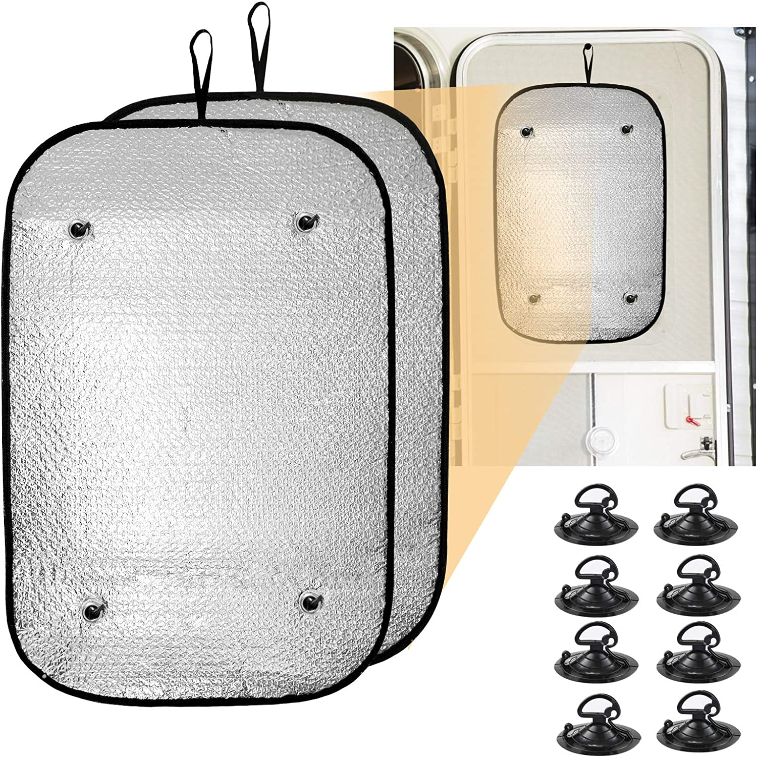 2 Pack Double-Sided RV Door Window Sunshield Cover- 23.6