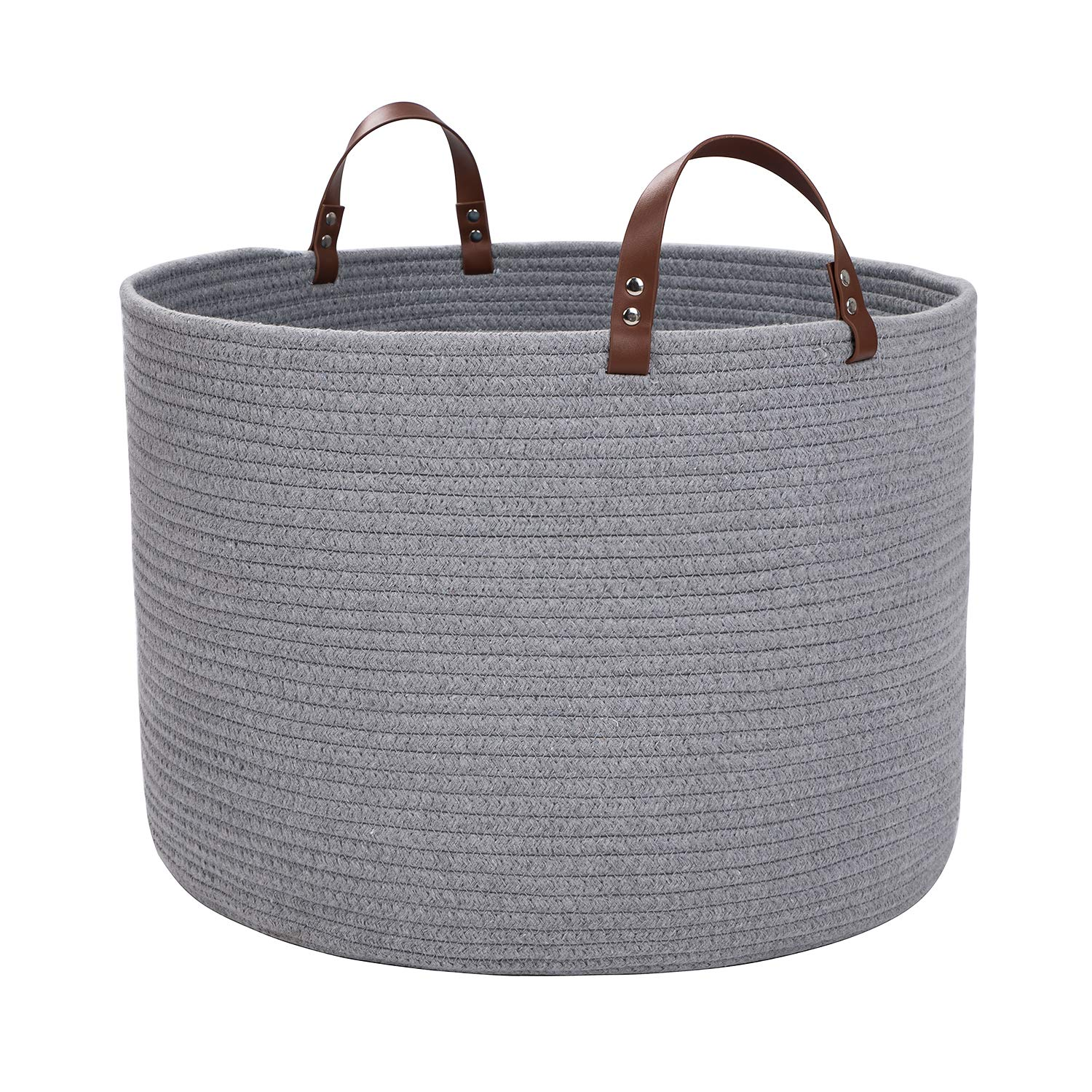 XXL Cotton Rope Basket,Storage Woven Baskets for Blankets,Laundry, Towel,Nursery Basket by Braided Crown (XXL Light Grey) by Braided Crown