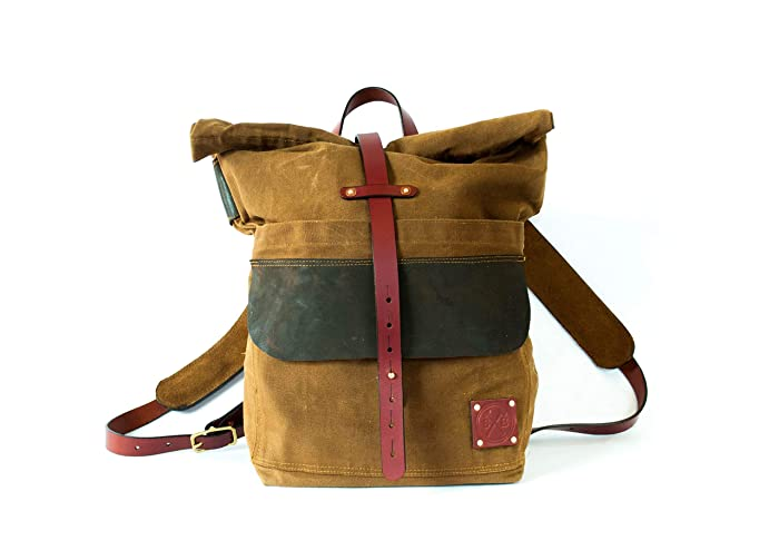 a66224b5abf Amazon.com: Waxed Canvas and Leather Rolltop Backpack - Camping ...