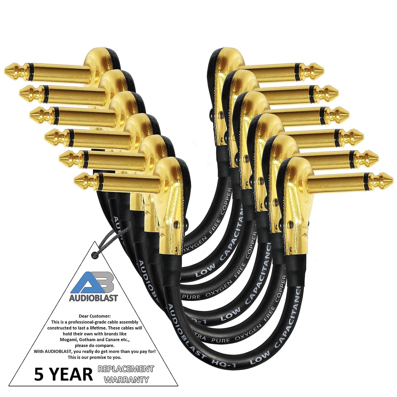 6単位 – 5 Inch – audioblast hq-1 – 超柔軟な – デュアルシールド( 100 % ) – InstrumentエフェクトペダルパッチケーブルW /ロープロファイル、R / AゴールドPancake TS ( 6.35 MM )プラグ&デュアルStaggeredブーツ   B0792TS7PS