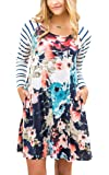 Hibluco Women's Casual Stripe Floral Tunic A-line Dress with Pockets
