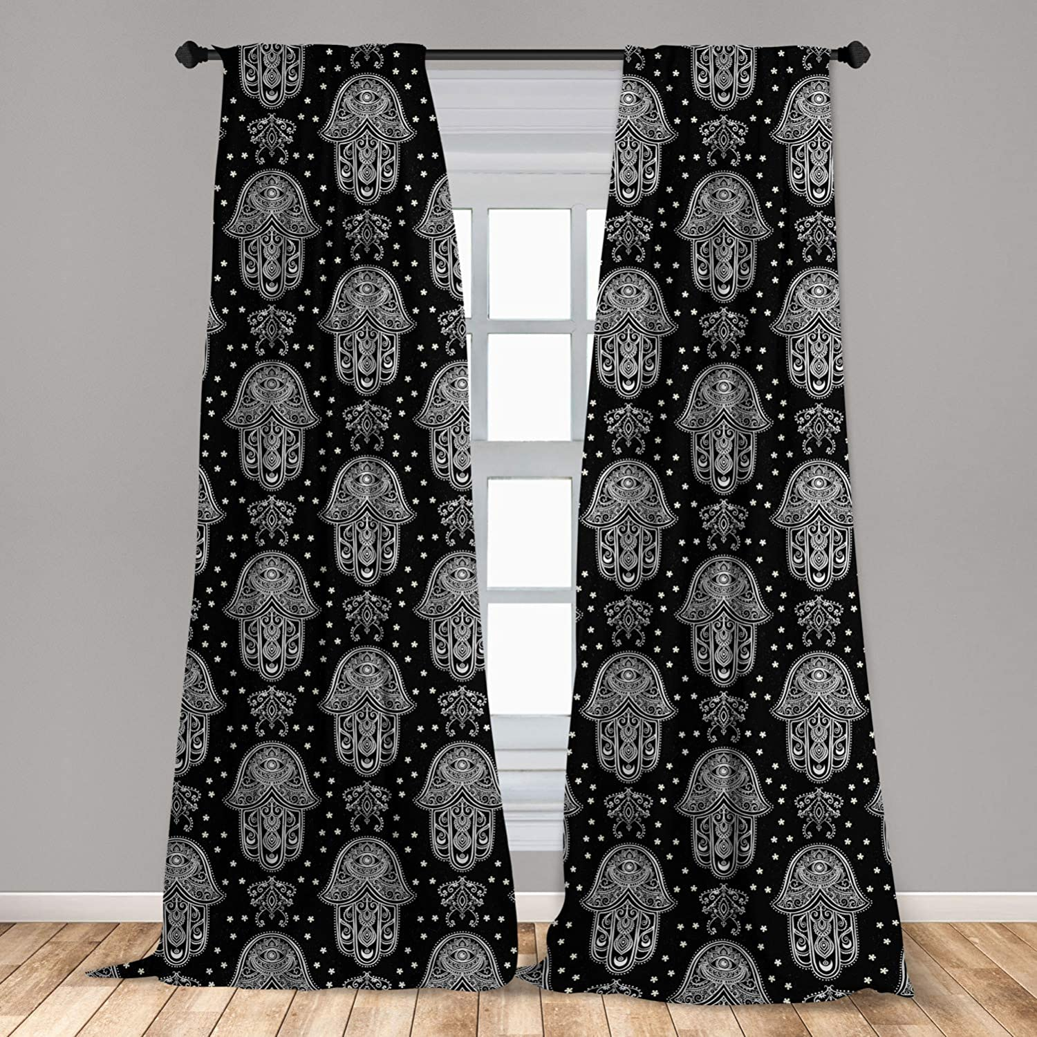 """Ambesonne Black and White Curtains, All Seeing Eye Motif in Middle Eastern Hand Design Monochrome Mandala, Window Treatments 2 Panel Set for Living Room Bedroom Decor, 56"""" x 84"""", Charcoal White"""