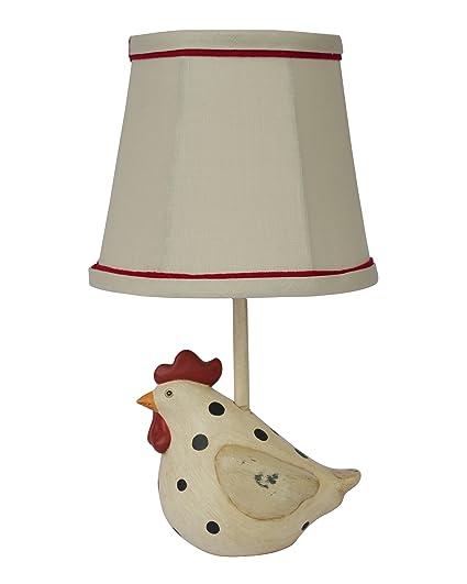 Ahs Lighting Big Fat Hen Polka Dot Table Lamp Beige Black Red