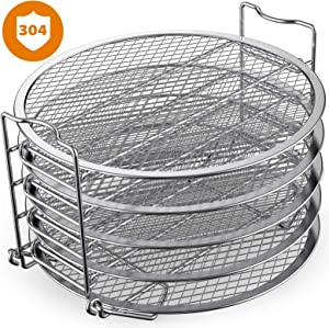Dehydrator Rack Stainless Steel Stand Accessories Compatible with Instant Pot Air Fryer Crisp Lid 6 Quart, By SiCheer