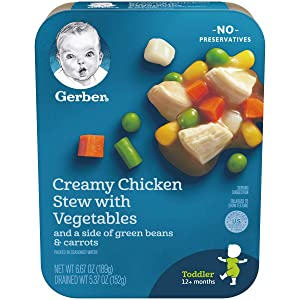 Gerber Creamy Chicken Stew with Vegetables and a side of Green Beans & Carrots, 6.67 Ounce, 8 Count